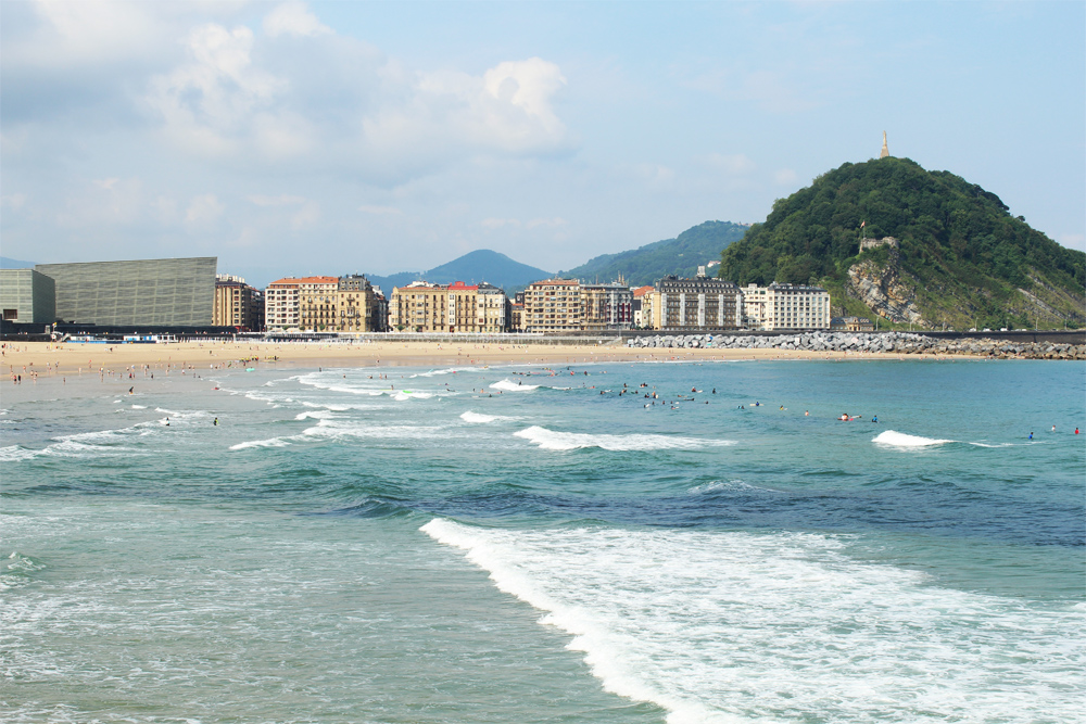 surf in donostia san sebastian city the wave of zurriola beach